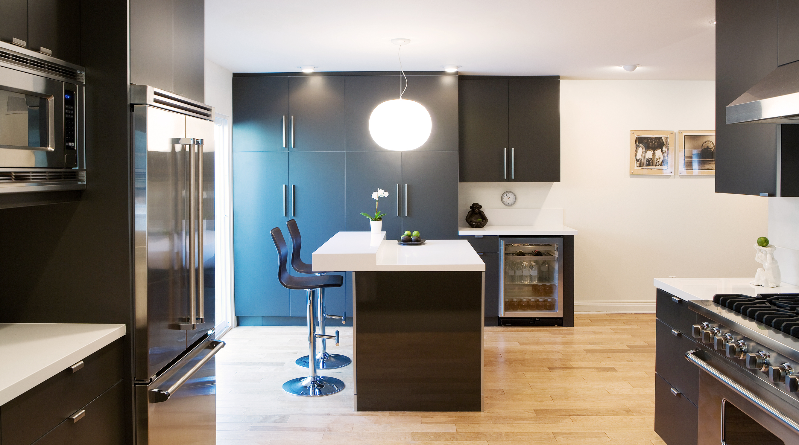 modern kitchen with cooling medium appliances